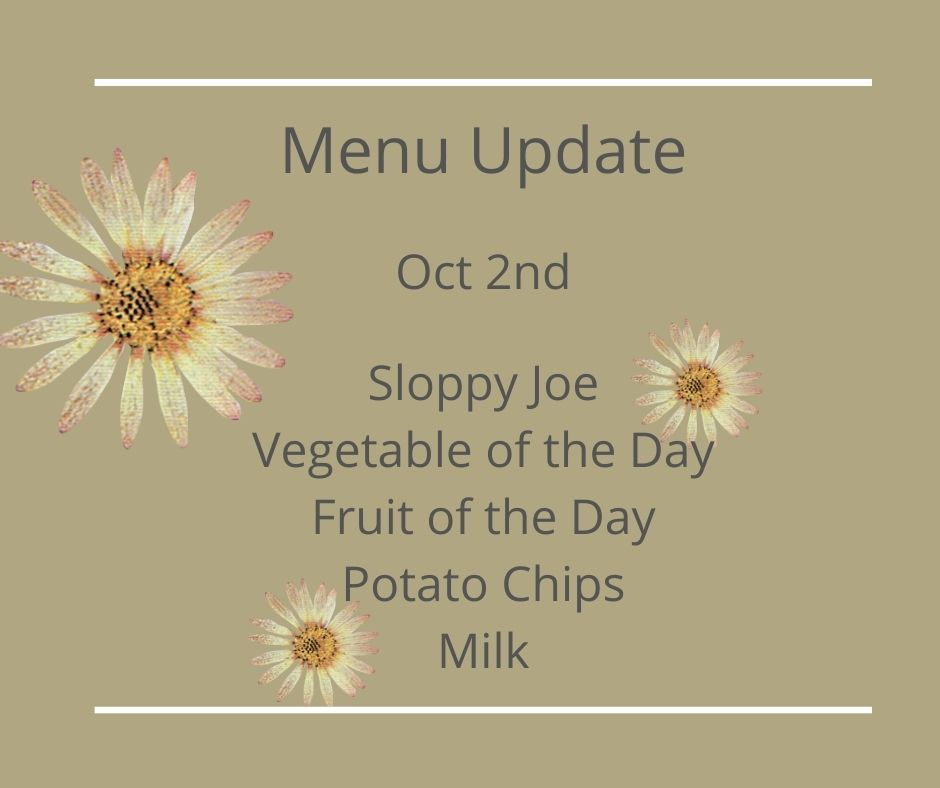 Lunch Menu Update for Oct 2nd