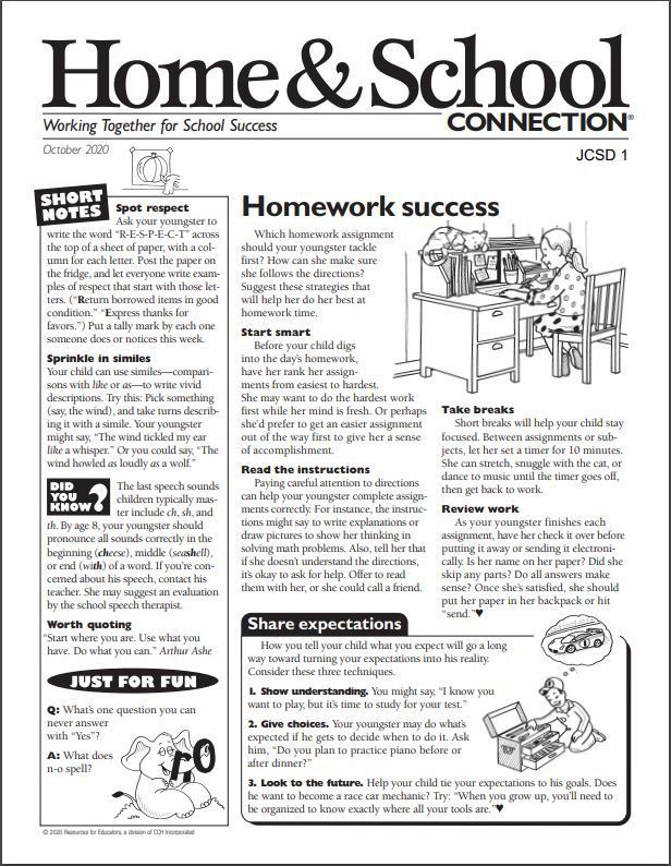 October- Home and School Connection